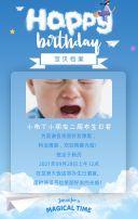 蓝色清新可爱宝宝生日邀请函生日请帖H5