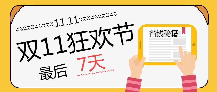 双11狂欢节 省钱秘籍 卡通电商促销 公众号封面大图