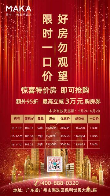 红色简约房地产单价突出户型价格促销宣传海报
