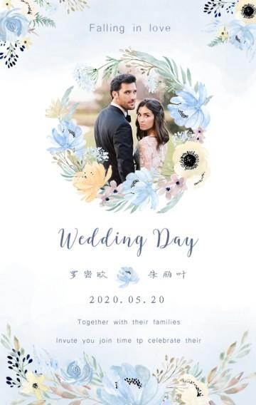 蓝白水彩花浪漫婚礼邀请函