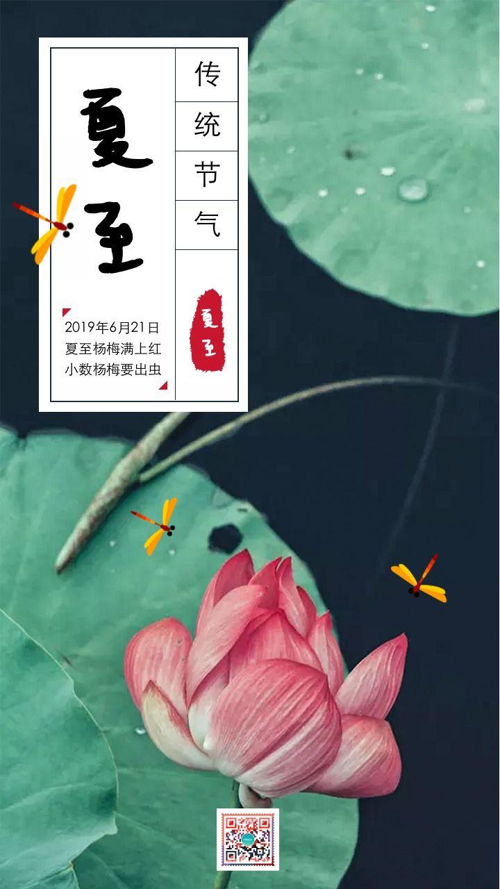 绿色中国风复古设计风格二十四节气之夏至宣传海报