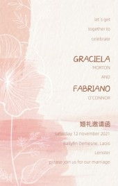 清新浪漫手绘花卉婚礼电子邀请函H5模板