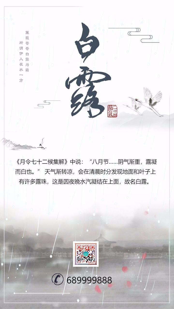 白露二十四节气创意海报节日贺卡祝福 中国传统习俗