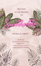 粉色肌理热带植物ins风霓虹灯元素婚礼请柬邀请函