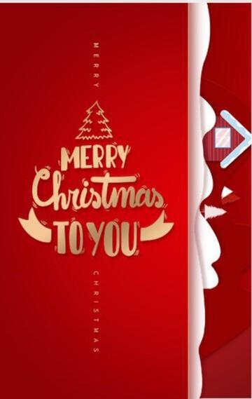 圣诞节创意大气红色祝福语|卡通相册祝福贺卡唯美飘雪