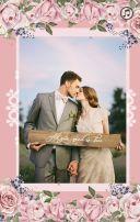 粉色浪漫花朵婚礼请柬——唯美版