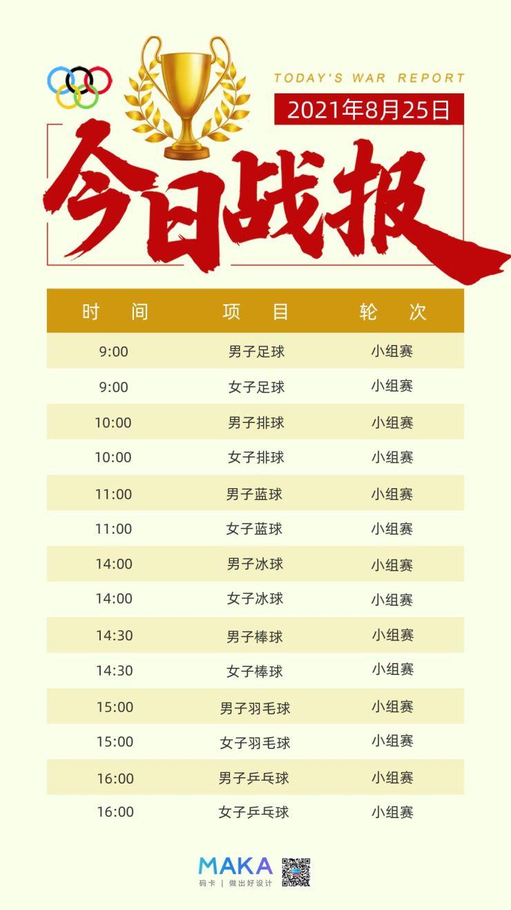 东京奥运会每日比赛项目时间表