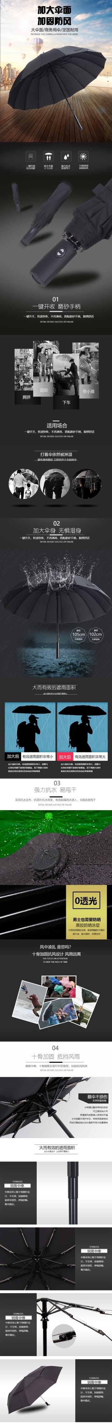 简约大气百货零售家居生活加大雨伞促销电商详情页