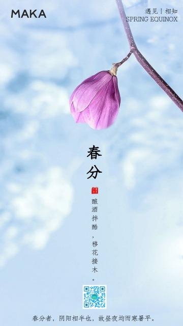 二十四节气春分扁平简约企业通用宣传励志日签海报