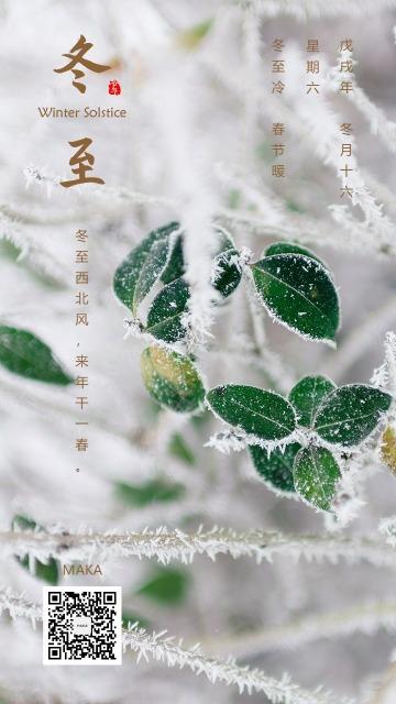 冬至阳生春又来亚岁白绿冬季冰霜贺卡节气日签