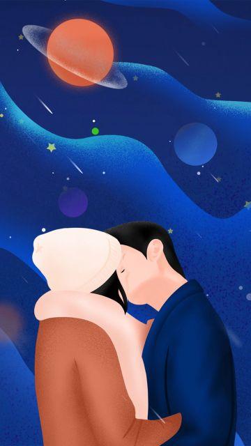 深蓝色星空手绘卡通你是我的荣耀追剧日常打卡手机情侣壁纸浪漫七夕可用