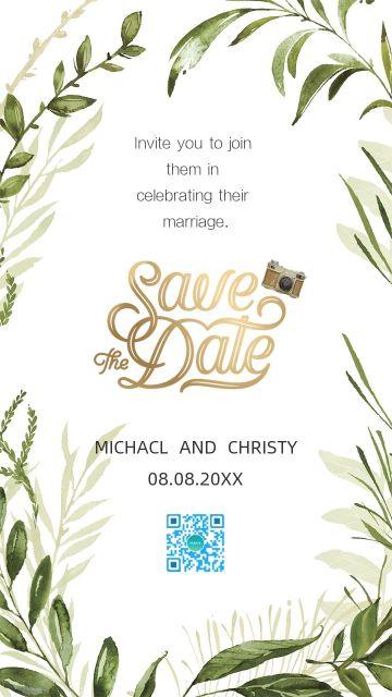 白绿小清新森系 花卉绿叶 水彩手绘 现代简约婚礼邀请函 请柬