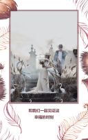 羽毛树叶西式大气简约典雅柔美白色婚礼请柬邀请函喜帖