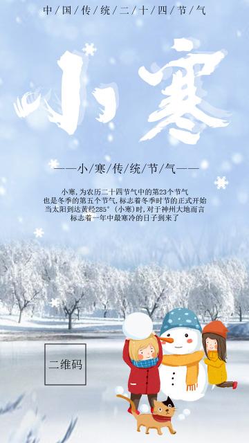 2019年 二十四节气  冬天 小寒节气  白色大气低调  季节节气宣传