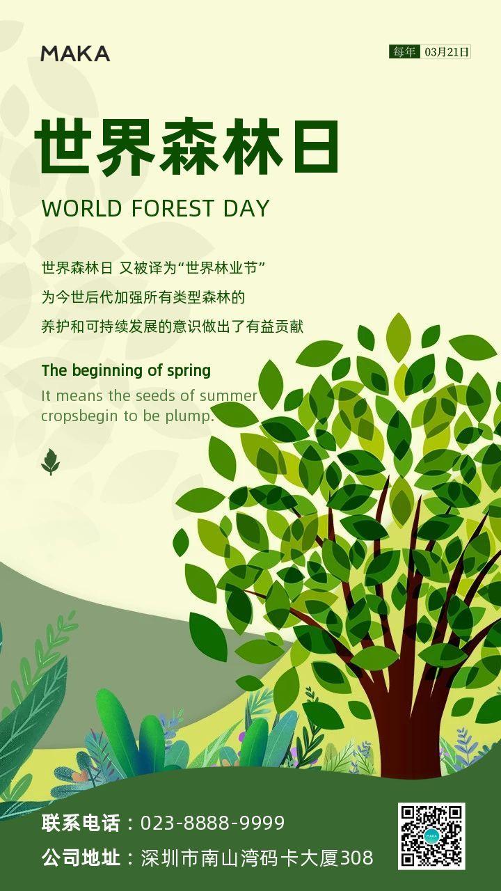 绿色简约风格世界森林日节日宣传手机海报