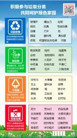 蓝色清新简约政府垃圾分类存放知识普及宣传海报