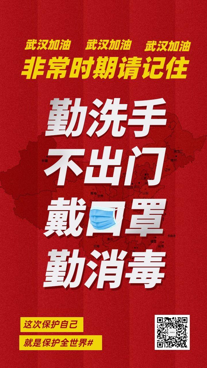 武汉加油肺炎疫情相应号召防控传染呼吁手机海报