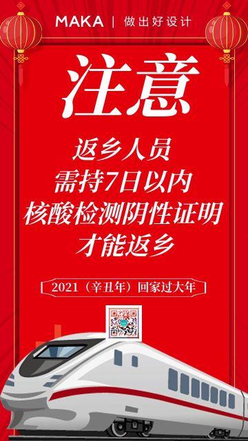 红色 2021春节疫情防护宣传海报