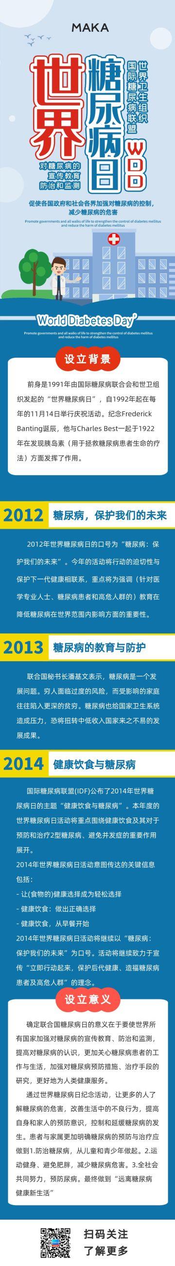 蓝色扁平简约风格世界糖尿病日科普宣传长页