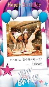 生日快乐简约风格祝福贺卡海报模板