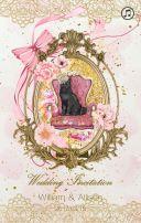粉色浪漫复古猫咪婚礼邀请函
