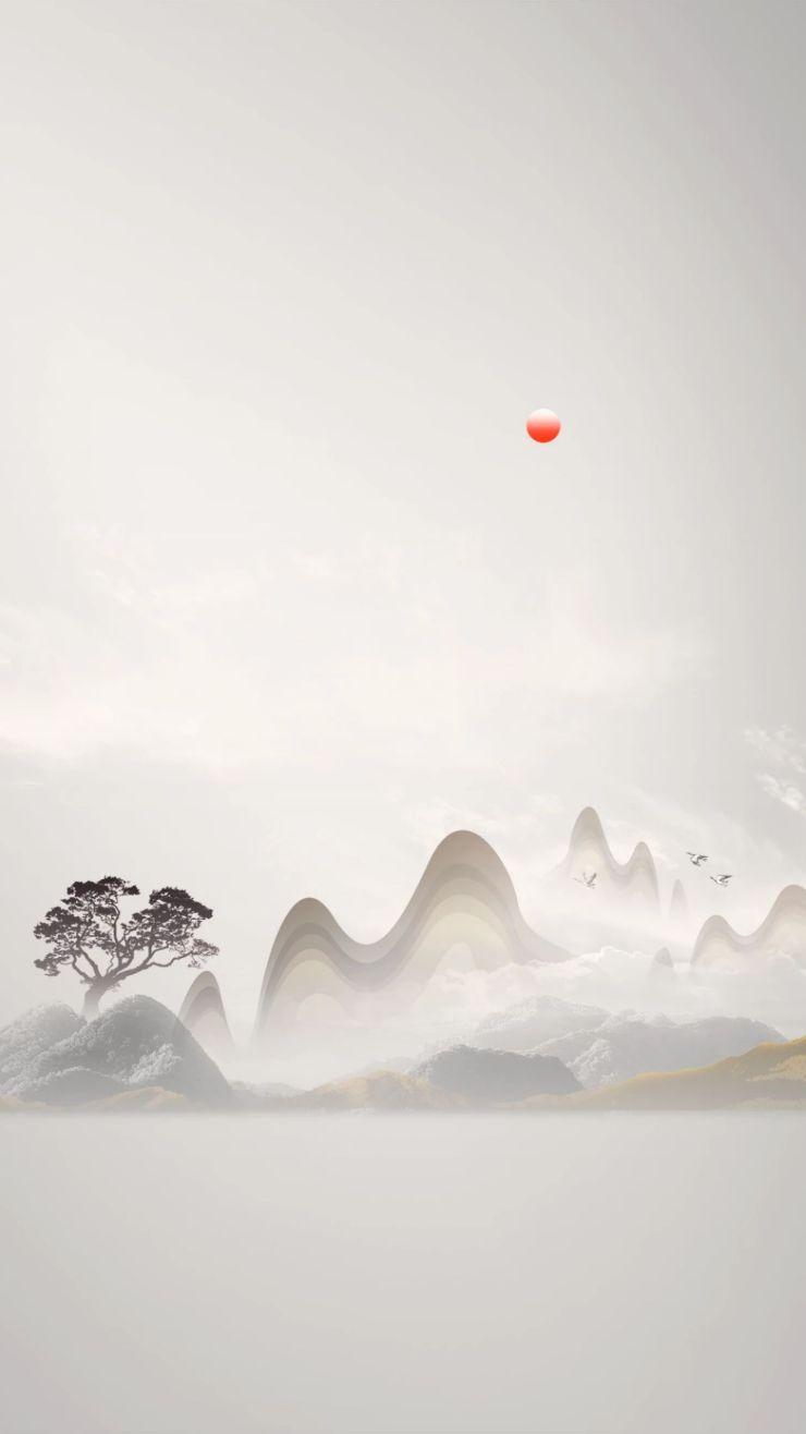 水墨中国风志存高远山水画宣传推广手机壁纸