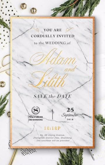 白色时尚文艺大理石金色植物极简唯美婚礼邀请函请柬H5