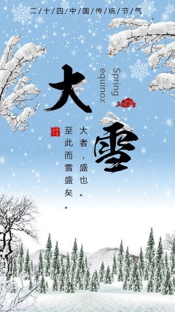 简约文艺唯美大雪二十四节气海报宣传