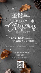 圣诞节2020年灰色时尚简约大气宣传活动海报