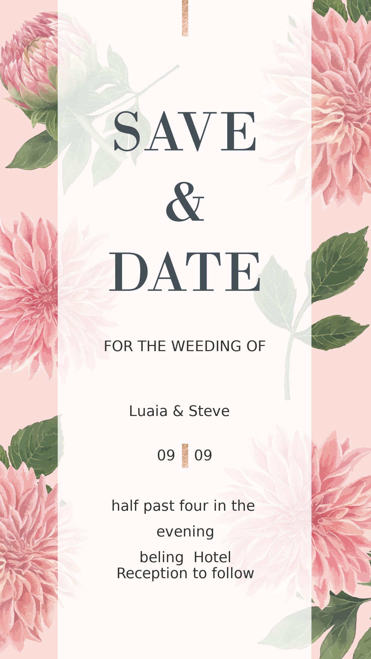 轻奢复古浪漫手绘花卉婚礼电子海报邀请函