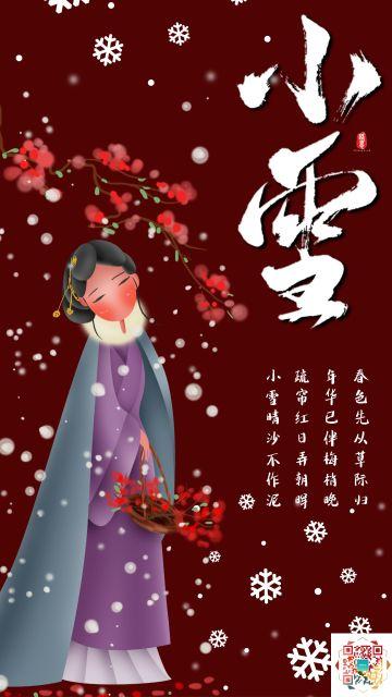 中国风红色小雪节气宣传海报