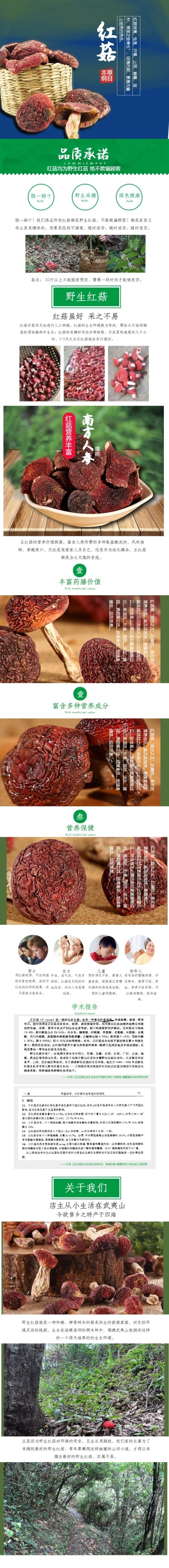 简约自然百货零售美食干货红菇促销电商详情页
