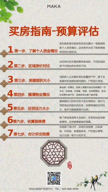 红色中国风古风设计风格地产家居买房指南海报模板