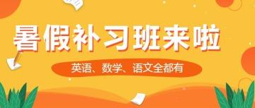 扁平简约暑期补习班招生宣传微信公众号封面