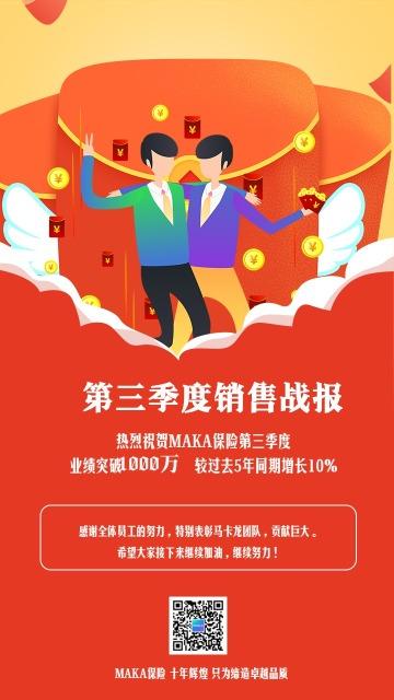 红色卡通保险类季度战报手机海报