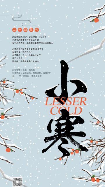二十四节气之小寒 浅蓝色梅花枝条中国传统节日冬季日签海报