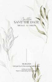白绿优雅纸品肌理底纹清新手绘水彩线条花叶婚礼请柬邀请函