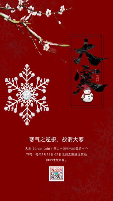 红色简约大气中国传统二十四节气之大寒知识普及宣传海报