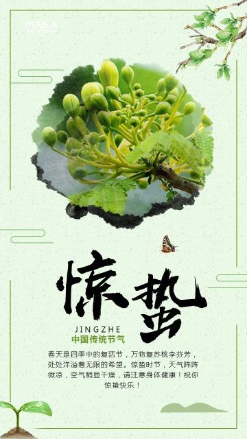 精美中国风惊蛰海报日签心情中国传统二十四节气宣传海报