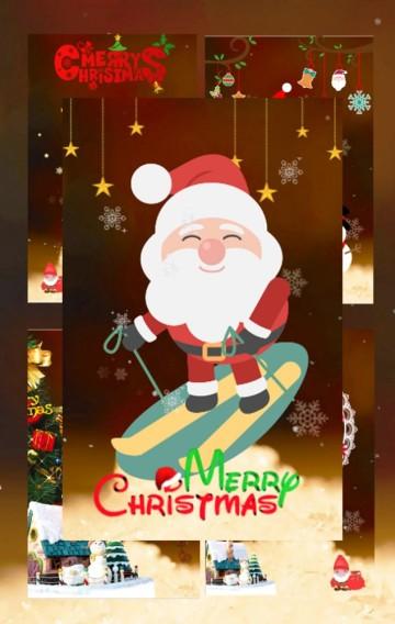 红色卡通圣诞贺卡通用版翻页H5