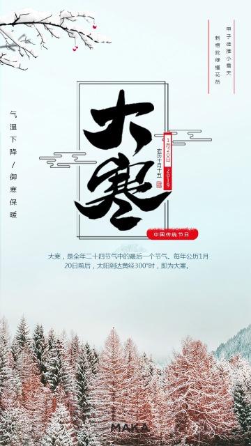 热销大寒节日海报