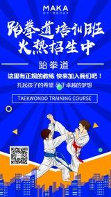 时尚酷炫跆拳道培训招生手机海报