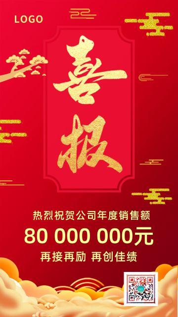 简约红色喜庆公司企业奖状期中期末考试成绩家庭报告书喜报表扬奖励宣传海报