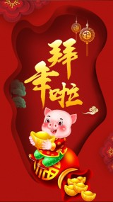 2019猪年喜庆春节祝福 新年贺卡 过年拜年视频
