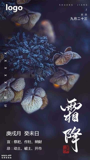 蓝色中国风霜降节日日签手机海报
