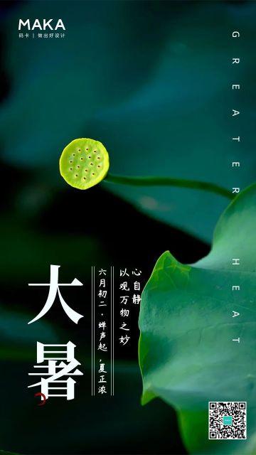 大暑节气自然中国风宣传海报