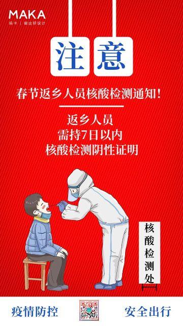 红色卡通2021春节疫情防护宣传海报