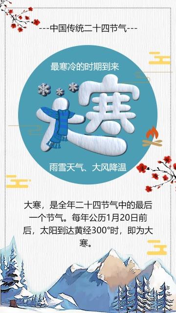 清新大寒节气宣传