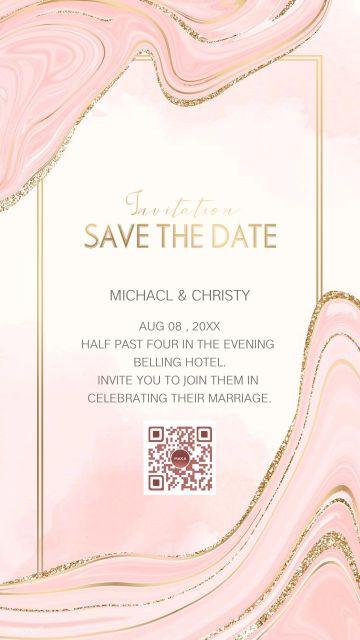 粉金色现代简约流动线条婚礼请柬邀请函海报