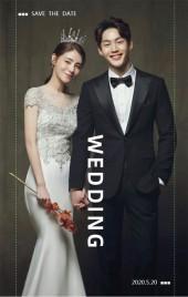 黑白高端文艺电影风格简约时尚个性创意婚礼邀请函H5模板